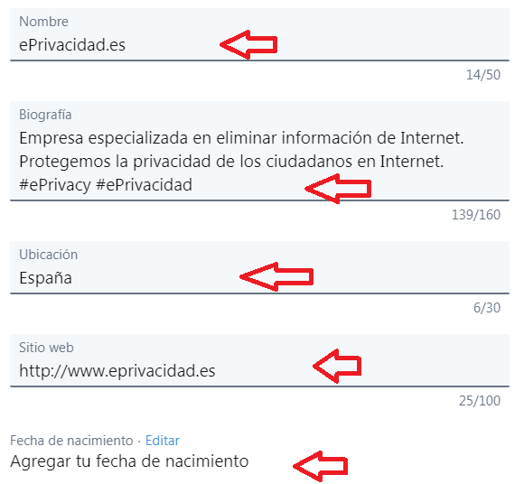 Eliminar datos de Twitter